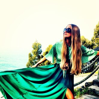 dress sunglasses long hair skirt chiffon green skirt polka dots blonde hair hair