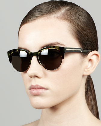 Stella McCartney Tortoise Half-Cat-Eye Sunglasses, Green - Neiman Marcus