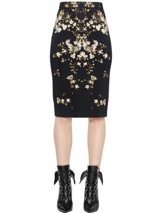 skirt pencil skirt floral black