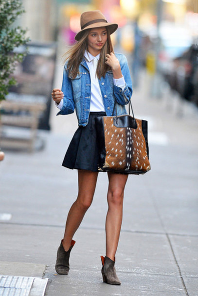 b24eab0302 hat denim jacket black skirt bag boots shirt white shirt skater skirt shoes