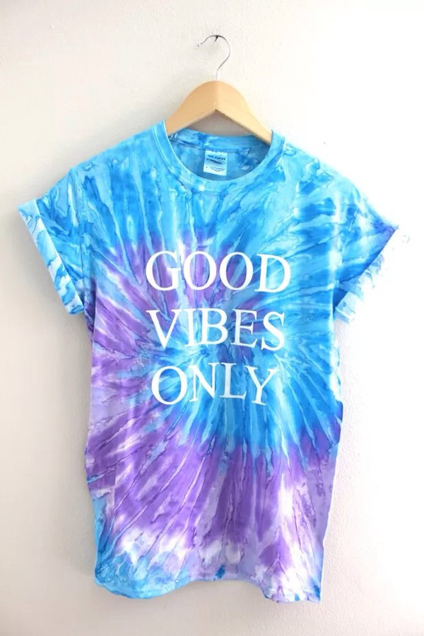 Good vibes only purple and blue tie dye graphic unisex tee for Black and blue tie dye t shirts