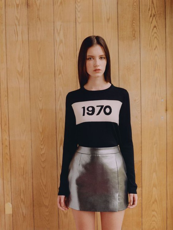 sweater black sweater letter print sweater bella freud skirt mini skirt silver skirt fall outfits