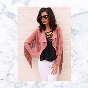 jacket,glamour,fringed jacket,suede jacket,tassel jacket,pink fringe jacke,pink fringe jacket,pink suede,pink suede jacket,festival jacket,36683