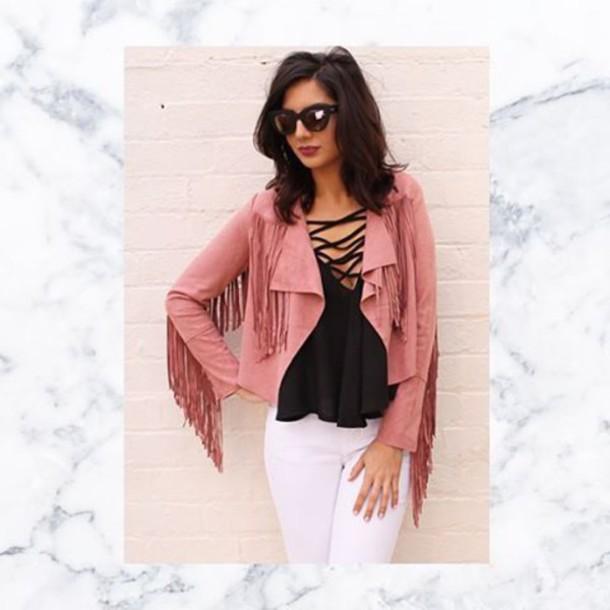 jacket glamour fringed jacket suede jacket tassel jacket pink fringe jacke pink fringe jacket pink suede pink suede jacket festival jacket 36683