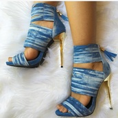 shoes,denim shoes,denim heels,denim,heels,sandals,strappy heels,blue sandals