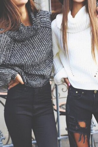 sweater casual trendy knitwear friends winter outfits zaful white grey white sweater winter sweater style vintage dress grey sweater
