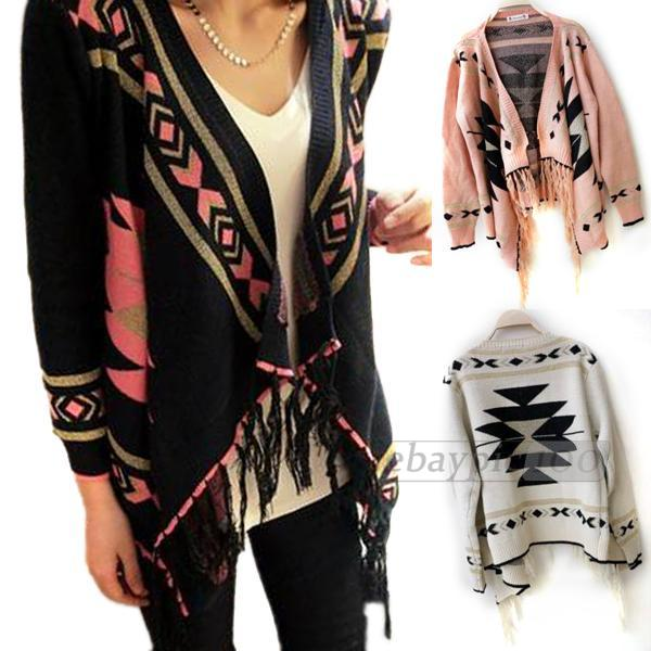 Women sweater cardigan cape poncho knit knitwear top batwing tassel
