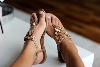 shoes sandals gold blouse golden cute weheartit girly lovely tan summer party brown fashion beach