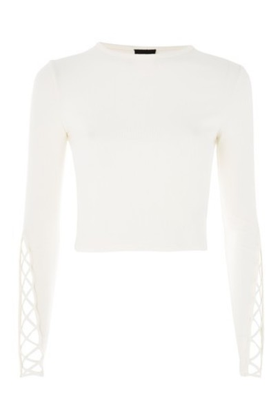 Topshop top ribbed top cream