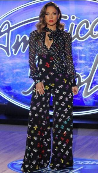 jumpsuit wide-leg pants blouse jennifer lopez fall outfits