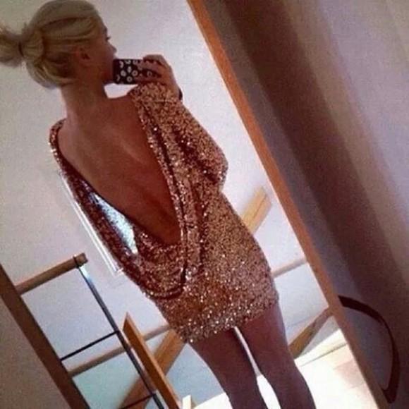 gold glitter dress short dress backless dress