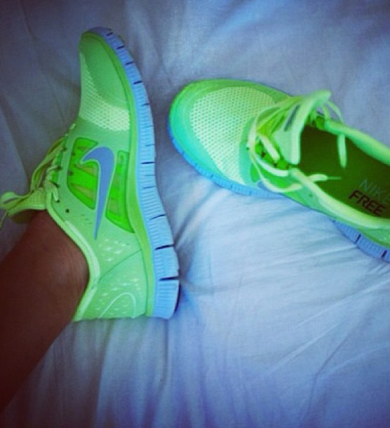 Shoes: neon, neon green, nike, nike free run, runnning ...