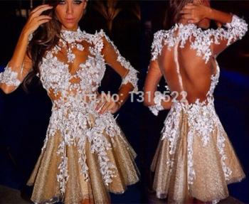 com : Buy Fashionable Champagne Tulle White Lace Appliques Long ...