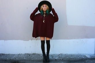 the river wolf blogger moon soft grunge burgundy sweater sweater dress necklace knee high socks
