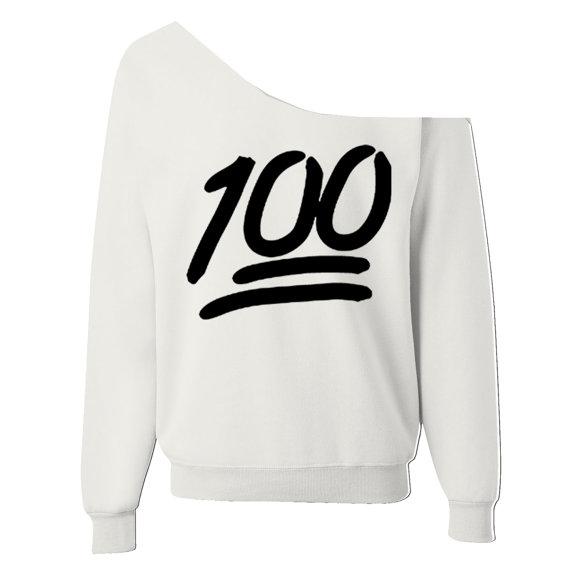 100 emoji womens oversized wideneck slouchy sweatshirt white, black
