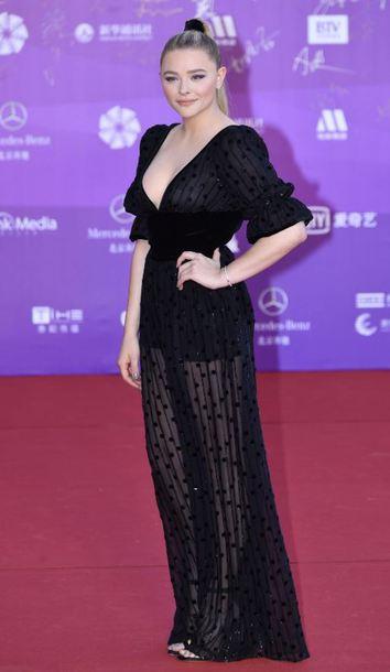 dress black dress maxi dress see through plunge dress sandals chloe grace moretz gown prom dress red carpet dress shoes