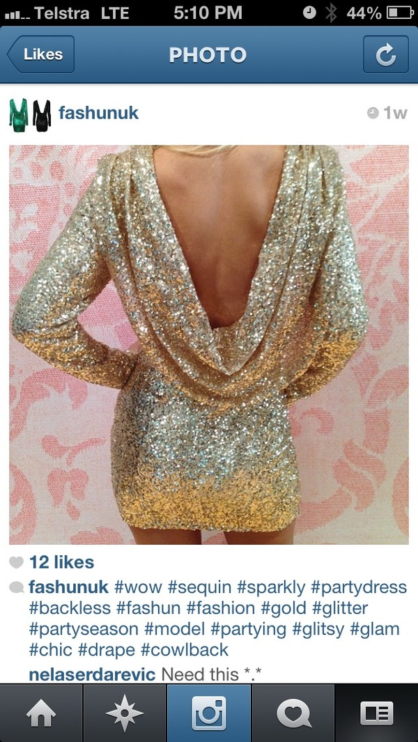 dress backless sequin gold sparkly