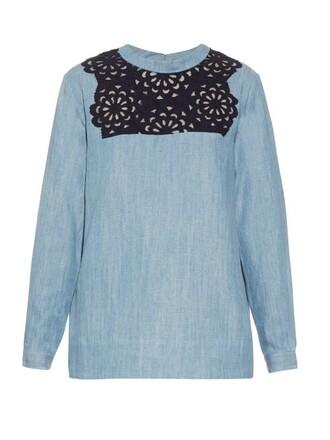 blouse lace denim top