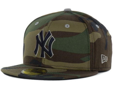 New York Yankees New Era WoodlandCamo/Navy New Era MLB Camo Pop 59FIFTY Cap | Lids.com