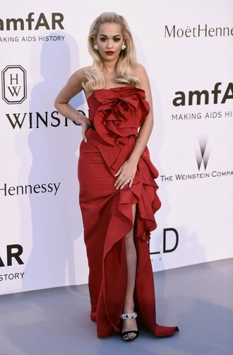 dress gown red dress cannes rita ora strapless prom dress slit dress sandals