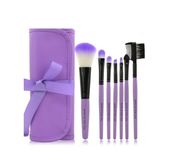 7 Pcs Professional Cosmetic Make up Brush Set Kit Foundation Blusher Bag Case
