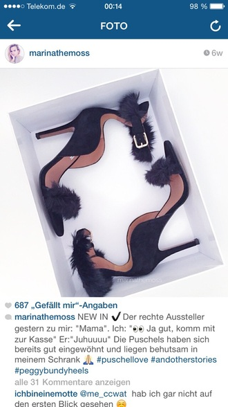 shoes black fur black heels high heels