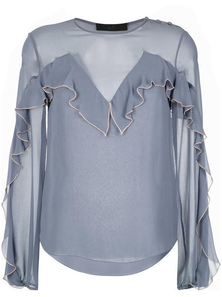 Nk blouse ruffle women blue silk top