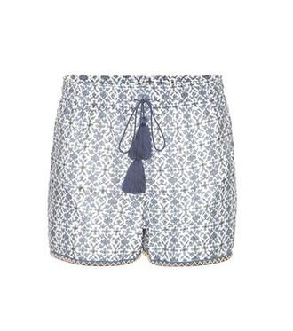 shorts cotton silk blue