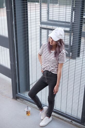 hat white cap white striped shirt black skinny jeans white sneakers blogger