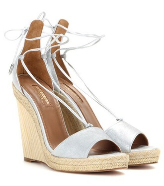 metallic sandals wedge sandals leather silver shoes
