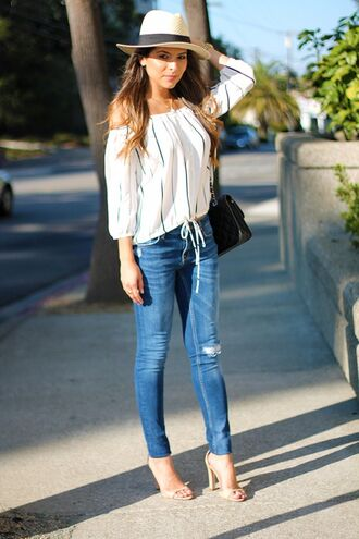 jeans tight jeans high heel sandals white cold shoulder white shirt white and navy blue stripes summer dress