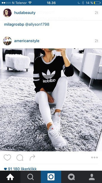 Sweater jumper adidas black bluse top long sleeves winter sweater black and white ...