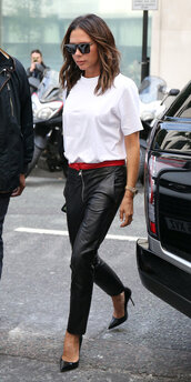 pants,leather,leather pants,top,white top,victoria beckham,celebrity