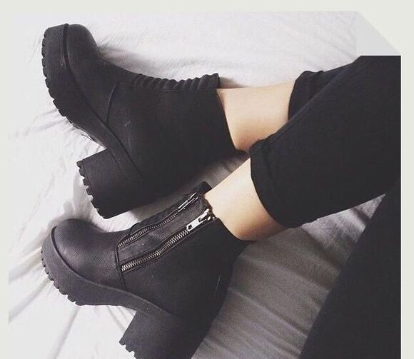 boots ankle boots platform shoes chunky grunge chunky heel zipper