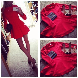 long sleeve dress dress red dress little black dress romantic dress skater skirt skater dress
