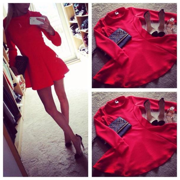 dress black dress skater skirt skater dress long sleeve dress red dress e28d528f4551