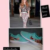 shoes,custom nike roshe run- aqua nike roshe run floral print,floral roshe run,aqua nike roshe run,aqua,baby blue,nike roshe run,custom,nike,nike shoes,customize