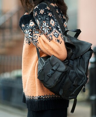 bag black bag leather bag backpack sweater knitwear
