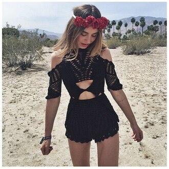 romper black black romper crochet black crochet romper black lace romper summer hipster floral cute tumblr weheartit
