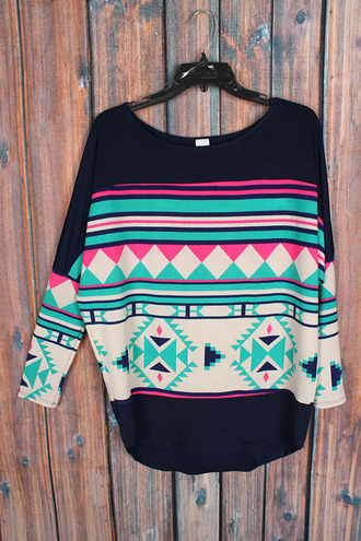 tribal pattern mint tunic aztec navy jersey betsy boo's boutique