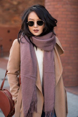 scarf tumblr camel camel coat coat sunglasses rayban round sunglasses bag brown bag brown leather bag leather bag winter outfits winter look
