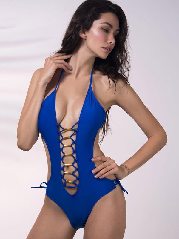 swimwear chiclook closet lace up summer trendy casual boho beach bikini tumblr girly sexy plunge v neck fashion style cute stylish blue