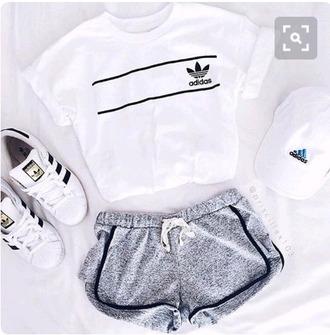 t-shirt adidas shirt cool girl white t-shirt