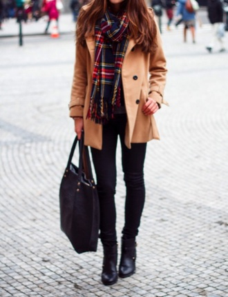 coat clothes tumblr fashion style camel winter coat scarf outfit