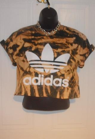 diy cropped acid wash tie dye adidas  t shirt  grunge size S | mysticclothing | ASOS Marketplace