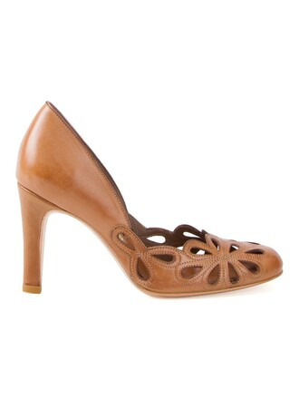 women pumps leather brown shoes