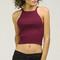 Sweater halter crop top - burgundy