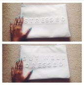 bag,clutch,white,leather,large clutch,embossed,statement
