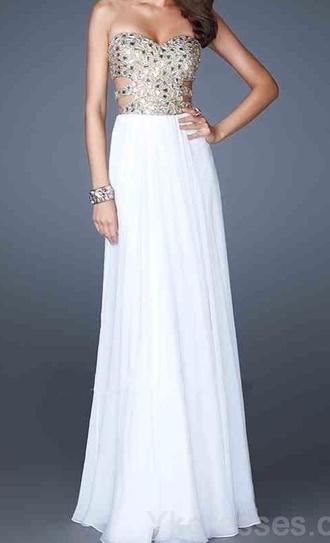 dress prom dress long prom dress prom sparkle dress cut-out dress white dress white and gold dress