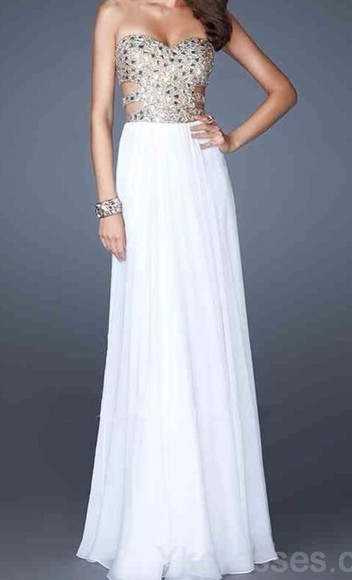 dress white dress cut out dress prom dress long prom dresses prom sparkle dress white and gold dress